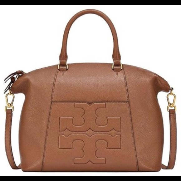 83ae17fcfe57 Tory Burch Bombe T Medium Satchel Bark - SALE  325